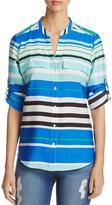 Calvin Klein Stripe Roll Sleeve Top