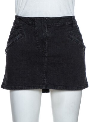 Pierre Balmain Dark Grey Washed Denim Mini Skirt M