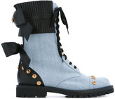 Fausto Puglisi chambray studded boots - women - Cotton/Leather/Metal (Other)/rubber - 39