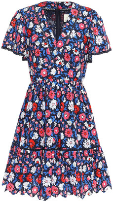 Kate Spade Floral-print Broderie Anglaise Cotton Mini Dress