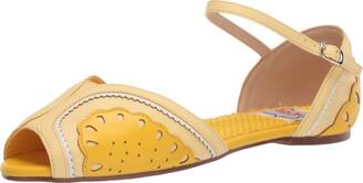 Bettie Page Women's 100-Fruitie Peep Toe Flat Orange 6