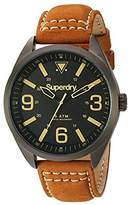 Superdry Men's 'Military' Quartz Brass-Plated-Stainless-Steel and Leather Dress Watch, Color:Brown (Model: SYG199TB)