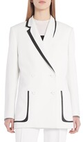 Leather Trim Double Breasted Tux Blazer