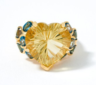 Champagne Quartz & Blue Topaz Ring, 12.30 cttw, 18K Gold Plated