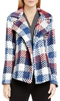 Vince Camuto Two by Plaid Faux Fur Notch Collar Coat