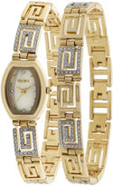 Elgin Womens Greek Key Crystal Watch and Bracelet