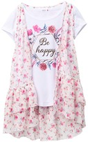 Beautees Floral Chiffon Print Over Short Sleeve Top (Big Girls)