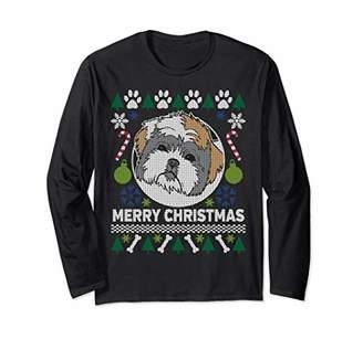 Shih Tzu Merry Christmas Ugly Xmas Dog Paws Long Sleeve T-Shirt
