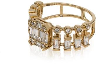 Shay 18kt yellow gold Illusion Centre dot-dash diamond ring