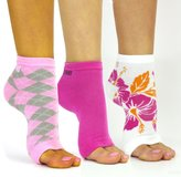Freetoes Toeless Socks X 3 pairs 1 Hot Pink, 1 Sunset Floral, 1 Pink Argyle