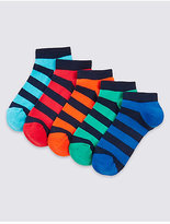 Marks and Spencer 5 Pairs of FreshfeetTM Striped Trainer Liner Socks (3-16 Years)
