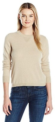 Minnie Rose Women's Cashmere + Lurex Sweater with Shiny Accents