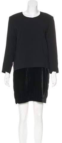 The Kooples Velvet-Accented Shift Dress