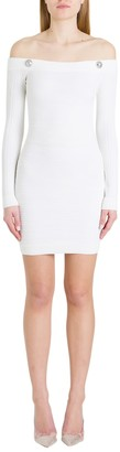 Balmain Off-the-shoulder Dress In Ribbed Knit