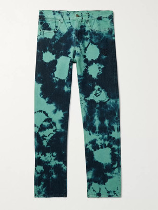 McQ Slim-Fit Logo-Appliqued Tie-Dyed Denim Jeans - Men - Blue