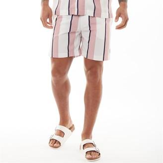 Nicce Mens Stripe Shorts Pink