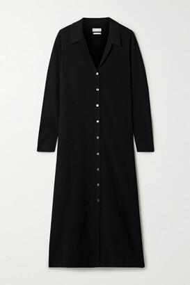Deveaux Nye Stretch-knit Midi Shirt Dress - Black