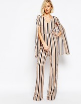 Lavish Alice Stripe Cape Detail Jumpsuit