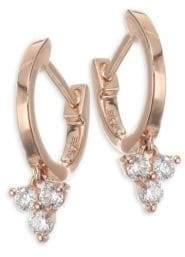 Ef Collection Mini Rose Gold& Diamond Huggies