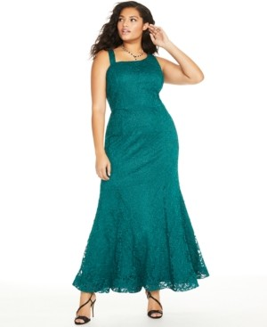 BCX Trendy Plus Size Glitter-Lace Mermaid Gown