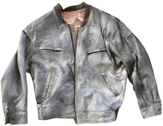 Non Signã© / Unsigned Non SignA / Unsigned Oversize Grey Leather Jackets
