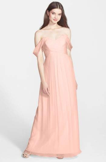 Nordstrom x Amsale Convertible Crinkled Silk Chiffon Gown