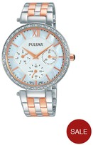Pulsar White Multi Dial Swarovski Element Bezel Stainless Steel Bracelet Ladies Watch