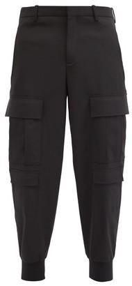 Neil Barrett Cargo-pocket Cuffed Stretch-gabardine Trousers - Black