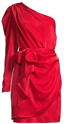 Aidan Mattox Draped One-Shoulder Dress