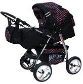 Lux4Kids King 2 in 1 Pram Combi Stroller & Pushchair (rain cover, mosquito net, beverage tray, mattress, changing mat) 61 Cosmic Black & Rosa Punkte