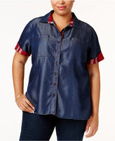 Poetic Justice Trendy Plus Size Plaid-Trim Shirt