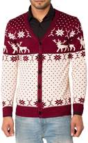 Noroze Mens Slim Fit Reindeer Knitted Christmas Button Up Cardigan