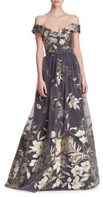 Marchesa Metallic Fil Coupe Off-the-Shoulder Gown