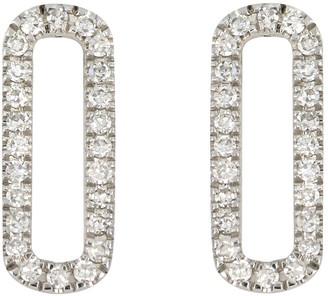 Carriere Sterling Silver Pave Diamond Open Oval Stud Earrings - 0.14 ctw