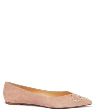 Christian Louboutin Cl-logo Crystal-embellished Point-toe Suede Flats - Nude