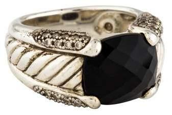 David Yurman Onyx & Diamond Sculpted Cable Ring