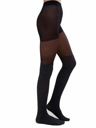 Jonathan Aston Ribbed Over The Knee Tights-B (Medium)-Black/Grey