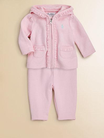 Ralph Lauren Infant's Ruffled Terry Hoodie & Pants Set