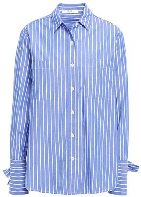 Stateside Bow-detailed Striped Cotton-poplin Shirt