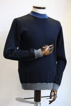 Remus Uomo - Navy Blue Wool and Acrylic High Neck Jumper - Med | Wool and Acrylic | navy blue - Navy blue