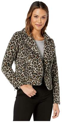 Cupcakes And Cashmere Margaux Leopard Moto Jacket (Heather Grey) Women's Clothing