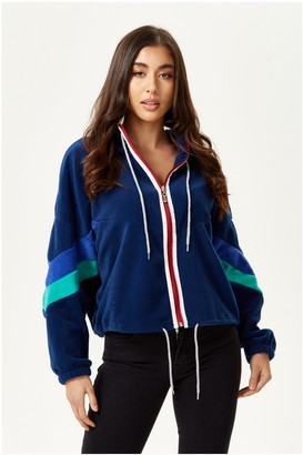Liquorish Navy Fleece Hoodie Sweatshirt