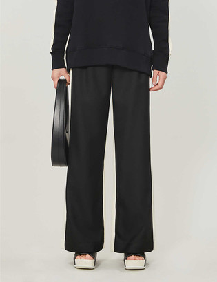 Topshop Two-tone high-rise twill wide-leg trousers