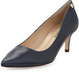 Neiman Marcus Stroll Pointed-Toe Leather Pump, Navy