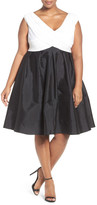 Adrianna Papell Two-Tone Mixed Media Fit & Flare Dress (Regular, Petite, & Plus Size)