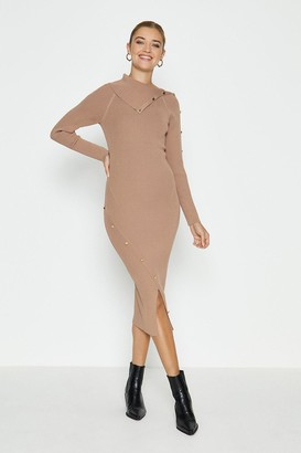 Coast Button Detail Envelope Neck Knitted Dress