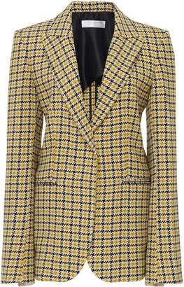 Victoria Beckham Plaid Wool-Blend Tailored Notched Lapel Blazer Size: