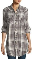 Tolani Tina Plaid Embroidered-Back Tunic