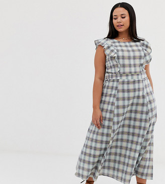 Glamorous Curve maxi dress with full skirt in check