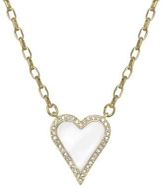 Rachel Reinhardt 14K Vermeil White Enamel & Cz Pave Heart Necklace